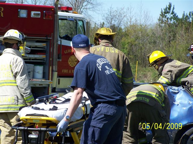 EMT Training extricating a patient from a car