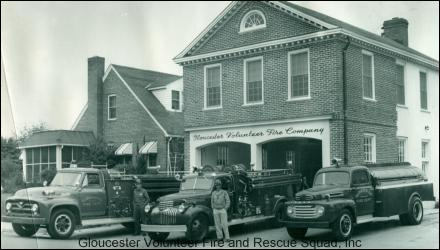 The original Station 1 with 3 firetrucks out front